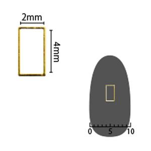 SHAREYDVA ソフト 長方形 2×4mm ゴールド 細(中抜き) 8P