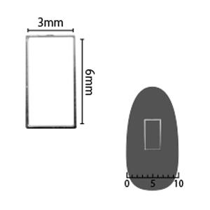 SHAREYDVA ソフト 長方形 3×6mm シルバー 細(中抜き) 8P