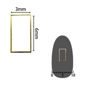 SHAREYDVA ソフト 長方形 3×6mm ゴールド 細(中抜き) 8P