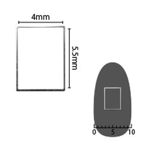 SHAREYDVA ソフト 長方形 4×5.5mm シルバー 細(中抜き) 8P