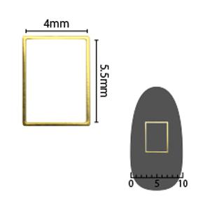 SHAREYDVA ソフト 長方形 4×5.5mm ゴールド 細(中抜き) 8P