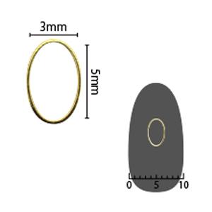 SHAREYDVA ソフト オーバル 3×5mm ゴールド 細(中抜き) 8P