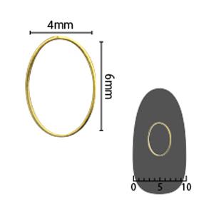 SHAREYDVA ソフト オーバル 4×6mm ゴールド 細(中抜き) 6P