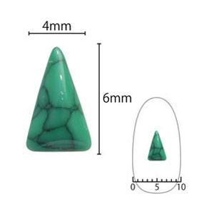 SHAREYDVA ネイルアクセサリー ターコイズプレート 三角ロング グリーン  5P