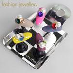 fashion jewellery カラフルVカットストーンセット