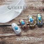 SHAREYDVA インディアンストーン オーバル レッドコーラル 10P