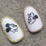 SHAREYDVA ネイルシール ミッキーマウス&ミニーマウス ノスタルジック ブラック×クリア