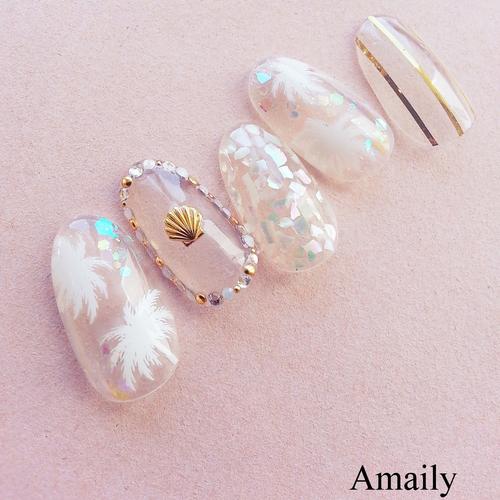 Amaily ネイルシール NO.3,6 ヤシの木 白